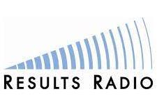 Blue and black Results Radio logo